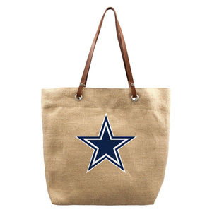 Handbags - NFL Dallas Cowboys Burlap Jute Tote Bag Handbag